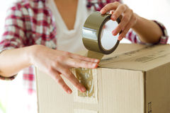 Young beautiful woman moving in a new home. Royalty Free Stock Image