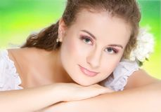 Young beautiful woman on natural background Stock Images