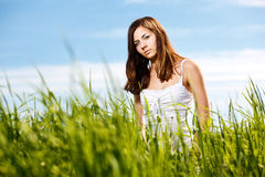 Young beautiful woman on the nature Royalty Free Stock Images