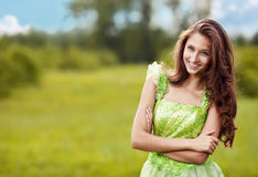 Young beautiful woman on the nature Stock Photography