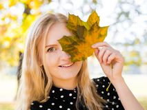 Young and beautiful woman in nature holding amazing color leave royalty free stock images