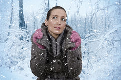 Snow. Young beautiful woman in nature when it snows Stock Photos