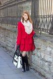Young beautiful woman near fence Stock Image