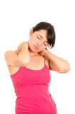 Young beautiful woman with neck pain Stock Photo