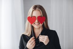 Beautiful woman with red hearts in love day Royalty Free Stock Photo