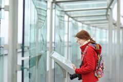 Young beautiful woman on observation deck Royalty Free Stock Photos