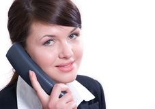 Young beautiful woman in office environment Stock Images