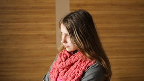 Young beautiful woman in an Office near the window stock footage