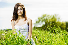 Young Beautiful Woman On The Nature Stock Images