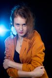 Young beautiful woman-operator Stock Images