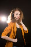 Young beautiful woman-operator Royalty Free Stock Photo