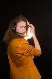 Young beautiful woman-operator Stock Photo