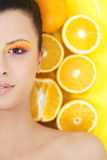 Young beautiful woman with oranges Royalty Free Stock Photography