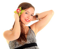 Young beautiful woman with orchid Royalty Free Stock Photo
