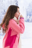 Young beautiful woman outdoor blowing nose in Royalty Free Stock Image