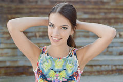 Young beautiful woman. Outdoor portrait stock photography