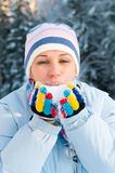 Young beautiful woman outdoor in the snow Stock Photos