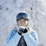 Young beautiful woman outdoor in winter Stock Images