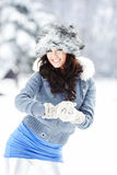 Young beautiful woman outdoor in winter Stock Photos