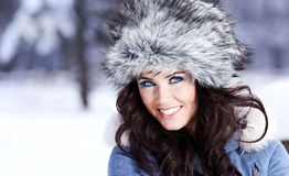 Young beautiful woman outdoor in winter Stock Photography