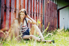 Young beautiful woman outdoors. Portrait of the young beautiful woman outdoors Stock Photos