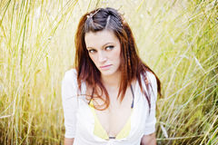 Young beautiful woman outdoors. Portrait of the young beautiful woman outdoors Royalty Free Stock Images