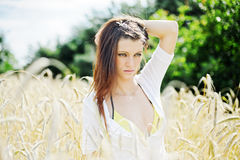 Young beautiful woman outdoors. Portrait of the young beautiful woman outdoors Royalty Free Stock Photo