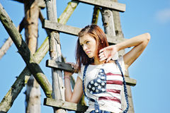 Young beautiful woman outdoors. Portrait of the young beautiful woman outdoors Royalty Free Stock Photos