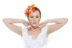 Young beautiful woman over white Royalty Free Stock Image
