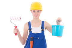 Young beautiful woman painter with paintbrush and bucket isolate Royalty Free Stock Photography