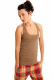 Young beautiful woman with pajamas isolated stock images