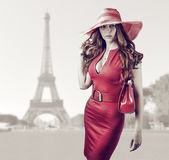 Young beautiful woman in Paris, France Royalty Free Stock Images
