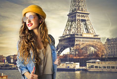 Young beautiful woman in Paris Stock Photo
