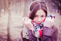 The young beautiful woman in park Stock Photos