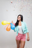 Young beautiful woman in party mood Royalty Free Stock Photos