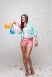 Young beautiful woman in party mood Stock Photo