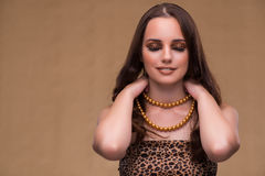 The young beautiful woman with pearl necklace Royalty Free Stock Images