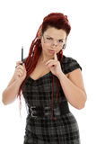 Young beautiful woman with pen Royalty Free Stock Image