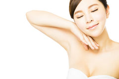 Young beautiful woman with perfect skin and armpit  care Royalty Free Stock Images