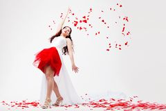 Young beautiful woman with petals of roses Stock Photos