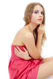 Young beautiful woman in pink dress Royalty Free Stock Photo