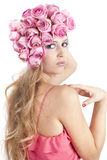 Young beautiful woman with pink flowers Royalty Free Stock Photo