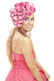 Young beautiful woman with pink flowers Stock Photography