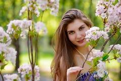 Young Beautiful Woman with Pink Sakura Flowers Stock Photo