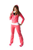 Young beautiful woman in the pink sportswear Royalty Free Stock Image