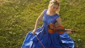 Young beautiful woman playing the violin in nature, the girl sitting on green grass in long dress with a musical instrument, conce. Young beautiful woman plays stock footage