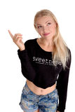 Young beautiful woman pointing an advertisiment sale by finger Stock Images