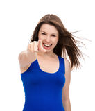Young beautiful woman pointing finger on you looking and cheerfu Stock Photos