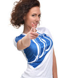 Young beautiful woman pointing finger on you looking. And cheerful smiling isolated on a white background Stock Image
