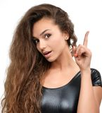 Young beautiful woman pointing finger on you looking and cheerful smiling Royalty Free Stock Image